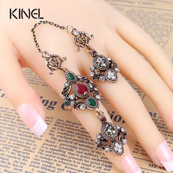 2017 New Adjustable Turkish Two Finger Rings For Party Women Red Resin Hollow Out Flower Design Vintage Ring Anel Jewelry