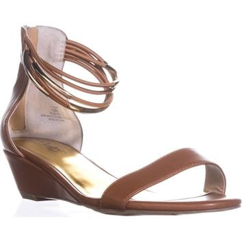 TS35 Areyana Ankle-Strap Wedge Sandals, Cognac, 8.5 US
