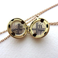Hand-Painted Mini Art Locket, New York City Brooklyn Bridge  (NEXT SHIPPING 12/21)