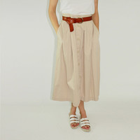 90s button through skirt khaki midi skirt camel button down skirt basic skirt closet staple MEDIUM med m
