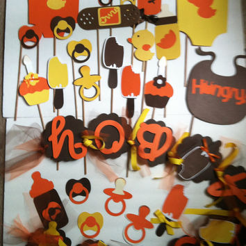 BABY SHOWER PARTY kit: banner with 18pc props set and 6 candy decor tags. yellows browns and orange colors