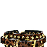 Gold Buckle Leather Bracelet in Cheetah – bandbcouture.com