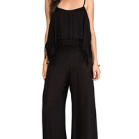 Indah Tenno Fringe Flounce Jumpsuit in Black