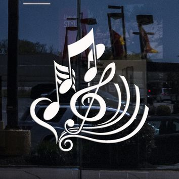 Window Graphics Vinyl Wall Decal Clef Music School Shop Decor Musical Notes Stickers Unique Gift (1932igw)