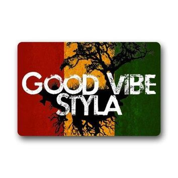 Autumn Fall welcome door mat doormat Red Yellow Green Stripe Tree Art With Funny Good Vibes Styla Saying   Rugs for Home/Office/Bedroom AT_76_7