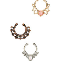 Blackheart Mixed Metal Opal Filigree Faux Septum Ring Set