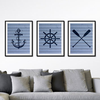 Nautical Art Prints, Oars, Life Saver, Buoy, Anchor, Set of 3 Prints, Faux Wood Art, Nautical Art, Boys Nursery Art, Blue or Gray Print *37*