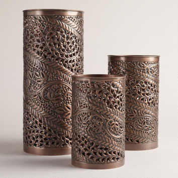 Punched Metal Candleholders