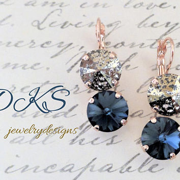 Unforgettable, Swarovski Earrings,  Double stone, Rose Gold, Neutral, 12MM Round, Lever Backs, Drops,DKSJewelrydesigns, FREE SHIPPING