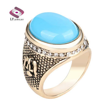 Size 7 Hot Sapphire Jewelry Turquoise Ring Retro Look 18K  Ottoman Design Inlay  Crystal Mens Rings