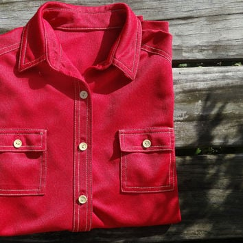1970s Men's Rust Red Shirt Vintage Long Sleeve Medium Size