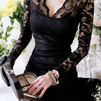 Black V-Neck Skinny Clipping Long Sleeves Lace Dress