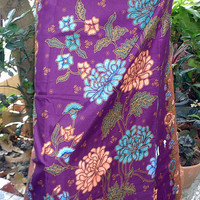 woman's sarong purple and gold batik pattern W2