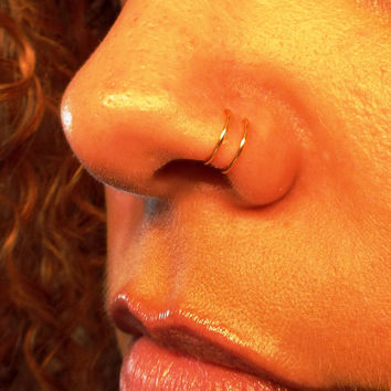 Tiny 24K Gold Double Nose Ring Lip Ring Fake Piercing