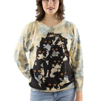 Floral Crazy Kitty Sweater