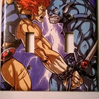 Comic Book Thundercats Lion-o Panthro comic light switch cover double