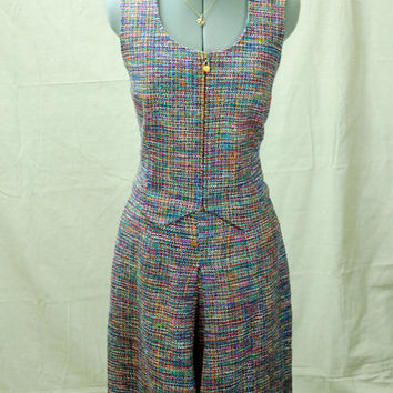 Vintage Doncaster Luxury Apparel, Rainbow Tweed Two Piece Suit, Vest and Skorts