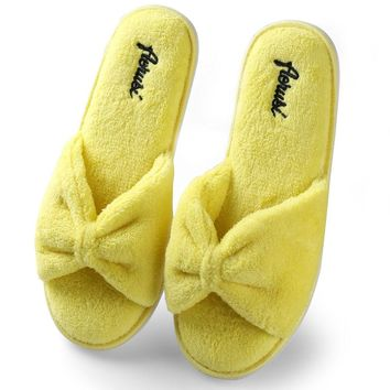 Fashion Women Satin Bowknot Winter Warm Home Floor Shoes Soft Cotton Slippers
