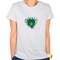 Green Man Head Hair Flowing Leaves Cartoon Tees