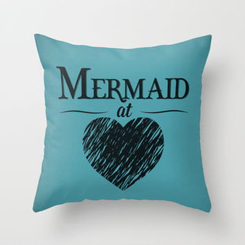 Mermaid at Heart Throw Pillow by Emily Anne Design