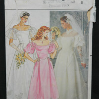 Butterick Pattern 3136, Size 6 Wedding Dress in 2 Styles Plus Bridesmaid Dress (c. 1985) Vintage Wedding, Bridesmaid Dress Patterns 15P98