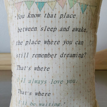 Nursery pillow Peter Pan throw pillow gift for new mom new baby gift baby room decor