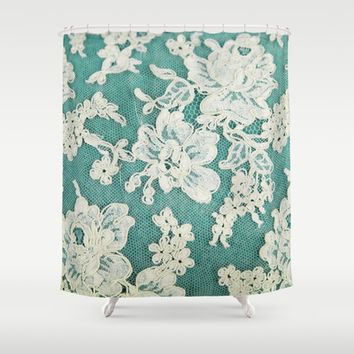 white lace - photo of vintage white lace Shower Curtain by Sylvia Cook Photography
