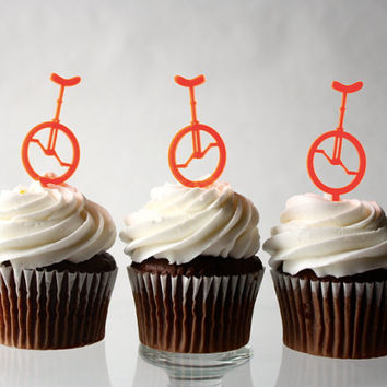 12 Unicycle Cupcake Toppers (Acrylic)