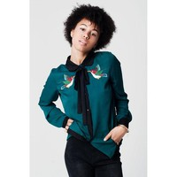 ONETOW GREEN BIRD EMBROIDERED SHIRT