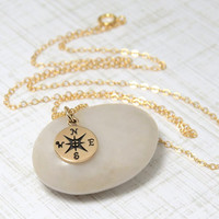 Compass Necklace, The Direction, Gold