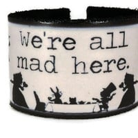 Leather Cuff with Alice in Wonderland Silhouettes