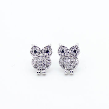 Owl Sterling silver earrings