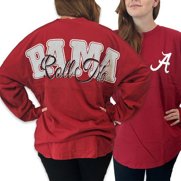 Alabama Crimson Tide Women's Roll Tide Logo Sweeper Long Sleeve Oversized Top Shirt