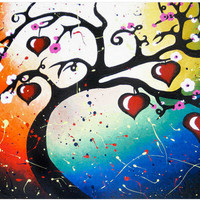 Red Hearts Tree Of Life Art Print H.. on Luulla