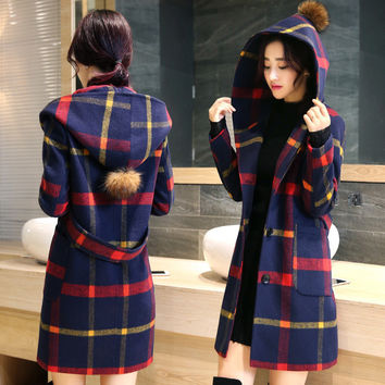 autumn England style women fashion plaid woolen hooded Coats Jackets Wool Blends lady casual woolen coat