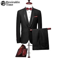 Men Black Prom Suit Slim Fitted Shawl Lapel Wedding Groom Printed Suits