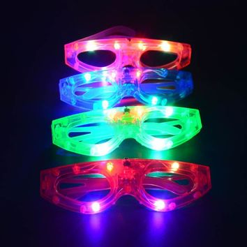 2017 New Colorful Shining Light Up Square Shaped Glasses LED Flashing Blinking Zorro Eye Wear Glasses Party Cosplay Props