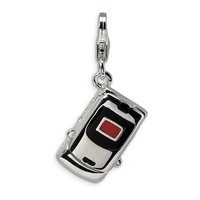 925 3D Executive Cell Phone Charm Created with Swarovski Crystals