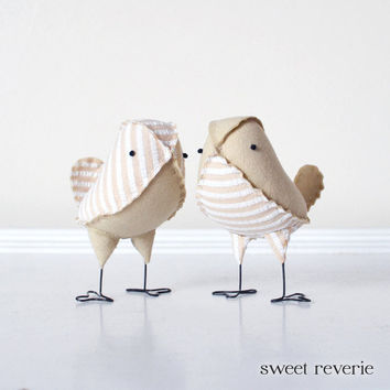 Bird Wedding Cake Topper - Mini Vintage Tan and White Stripe Seersucker and Muslin Love Birds, Neutral Rustic Wedding Decor - Made to Order