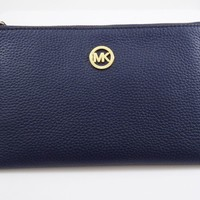 MICHAEL KORS FULTON NAVY LEATHER LARGE ZIP CLUTCH NWT