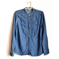 Womens Blue Denim Tuxedo Shirt Ruffle Front Vintage Large L