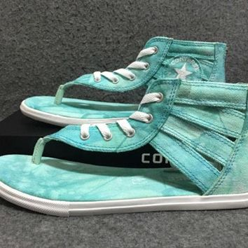 VONE05U Converse Leisure Mint Green Tie-dye Herringbone Roman Sandals
