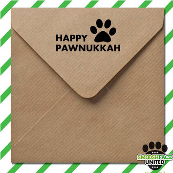 Happy Paw-nukkah (Hanukkah) decal - Dog Holiday sticker - white or gold - a great gift for the festival of lights! Also available in a stamp