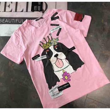 Dolce & Gabbana 2018 Counter Women Beautiful Fashion Pink Lady Dog Print T-shirt Short Sleeve F-AA-SYSY