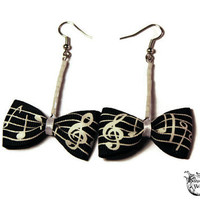 Dangle Bow Earrings - Black, White, Music Lover, Geeky - Ribbon Bow Tie - Gifts Under 10 - Alternative Jewelry, Music Notes