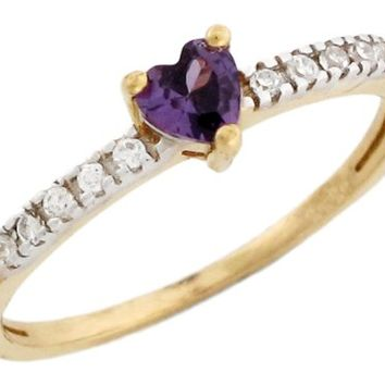 10k Gold February Birthstone Simulated Amethyst Heart Ring with Detail