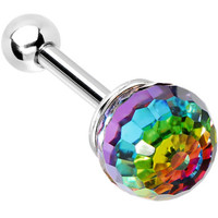 Crystal Aurora Rainbow Ball CartilageTragus Earring | Body Candy Body Jewelry
