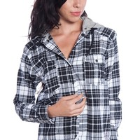Hooded Plaid Flannel Top - Black