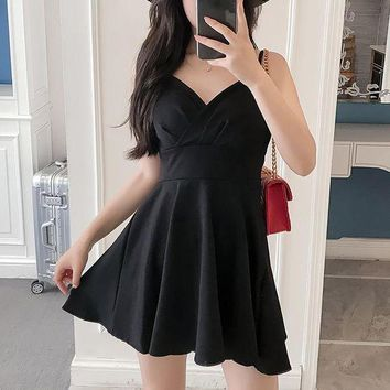 DCCKJ3V Sexy Deep V-Neck High Waist Mini Dress
