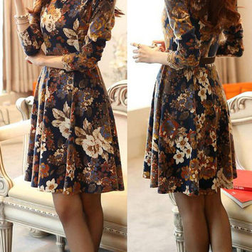 Vintage Floral Print Long Sleeve Tent Dress